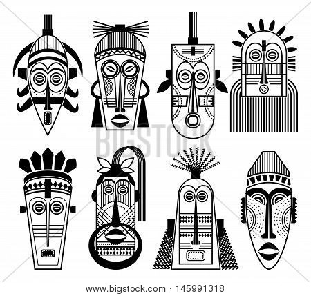 Ethnic masks or tribal masks flat icons. African souvenir aborigine totem ritual mask set. Vector illustration