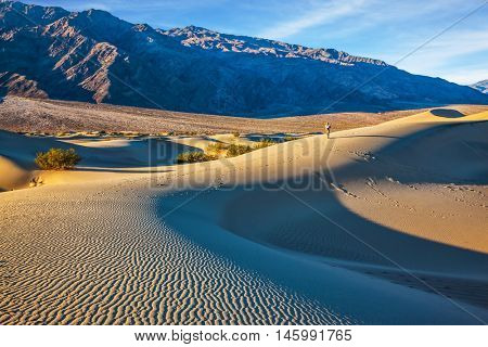 Small sandy ripples on orange barkhans. Mesquite Flat Sand Dunes in California. Woman in straw hat  photographing sand waves