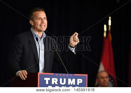 Chesterfield, MO, USA - September 06, 2016: Eric Greitens speaks at Mike Pence speaks rally in Chesterfield, Missouri.