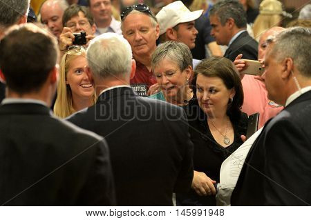 Chesterfield, MO, USA - September 06, 2016: Republican vice presidential candidate, Indiana Governor Mike Pence talks to supporters at a rally in Chesterfield, Missouri.