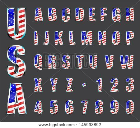 USA Stars and Stripes flag chrome font. Letters and numbers vector