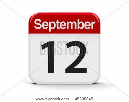 Calendar web button - The Twelfth of September three-dimensional rendering 3D illustration