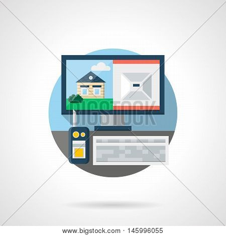 Home security service. Guard workplace with surveillance equipment - radio, video from remote cctv system. Round detailed flat color style vector icon.