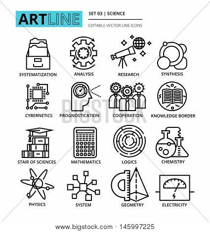 Modern editable line vector illustration set of science icons for graphic and web design