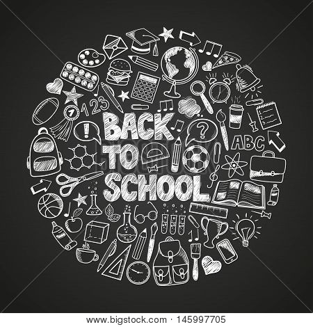 Back to School - sketch doodle set. Various hand-drawn school items arranged as circle on a background blackboard. Vector illustration