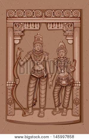 Vector design of Vintage statue of Indian Lord Rama Sita sculpture engraved on stone