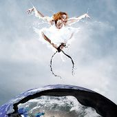 Jump of ballerina with dress of milk poster