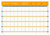 Yearly Calendar Planner Template for 2017 Year. Vector Design Print Template. Week Starts Monday. Stationery Design poster