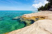 """""""The Coves"""" on Lake Superior at Pictured Rocks National Lakeshore located in Munising Michigan. The Coves are part of the Beaver Basin Lake area. poster"""