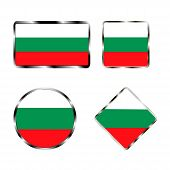 Vector illustration of logo for the country of Bulgaria.Isolated in the drawing consists of flag chrome frame contingent European design on a white background.Badge for government states atlas map poster