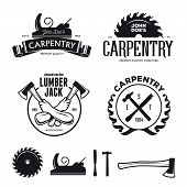 Carpenter design elements in vintage style for logo, label, badge, t-shirts. Carpentry retro vector illustration. poster