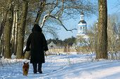 Woman and dog walk to St. Nikolai's cathedral across winter park. Shot in Poltavska region Ukraine. poster