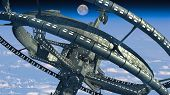 3d Illustration of a space station with multiple gravitational wheels in Earth's high atmosphere for games, futuristic exploration or science fiction backgrounds. Elements of this image furnished by NASA. poster