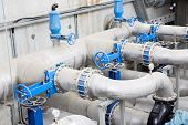 Wastewater treatment plant. A new pumping station. Valves and pipes. Urban modern treatment facilities pipelines and pumps powerful modern automatic system protection and control. poster