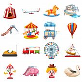 Amusement park icons set in flat style. Attraction park set collection vector illustration poster