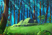 A Clearing in the Mysterious Woodland. Video Game's Digital CG Artwork, Concept Illustration, Realistic Cartoon Style Background poster