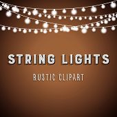 Rustic String Lights Background - Rustic String Lights Vector Clipart EPS 10 poster