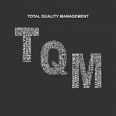 Total quality management typography background. Dark background with main title TQM filled by other words related with total quality management method. Vector illustration poster