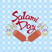 7th September - Salami Day on a light blue tablecloth with salami - firecrackeres poster