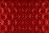 English red genuine leather upholstery, chesterfield style background. 3D rendering poster