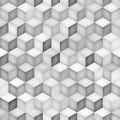 Vector Seamless Greyscale Shades Gradient Rhombus Tiling Pattern. Abstract Geometric Background Design poster