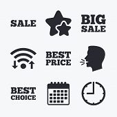 Sale icons. Best choice and price symbols. Big sale shopping sign. Wifi internet, favorite stars, calendar and clock. Talking head. Vector poster