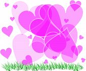 Abstract pretty pink hearts of all sizes above grass. poster