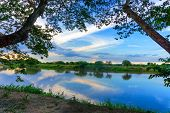 Beautiful view of the Magdalena River framed by trees in Mompox Colombia poster