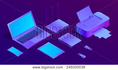 Vector 3d Isometric Violet Laptop, Router With Wi-fi And Office Equipment. Ultraviolet Computer, Fla