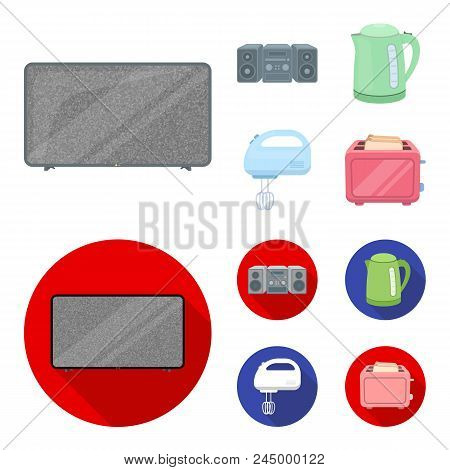 Electric Kettle, Music Center, Mixer, Toaster.household Set Collection Icons In Cartoon, Flat Style