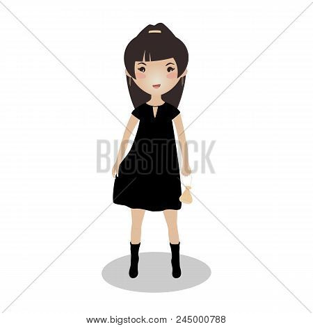 Smiling Girl Wearing A Little Black Dress. Evening Outfit. Cartoon Character. Young Lady Going On A