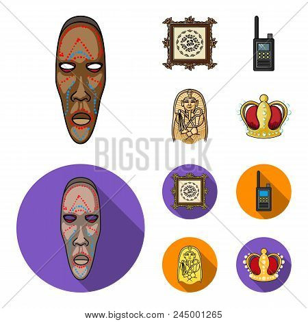 Picture, Sarcophagus Of The Pharaoh, Walkie-talkie, Crown. Museum Set Collection Icons In Cartoon, F