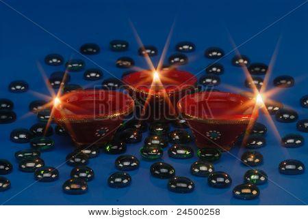 three sparkling lights