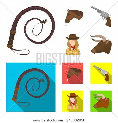 Head Of A Horse, A Bull's Head, A Revolver, A Cowboy Girl. Rodeo Set Collection Icons In Cartoon,fla