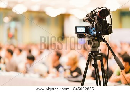 Video Camera Set Record Audience In Conference Hall Seminar Event. Company Meeting, Exhibition Conve
