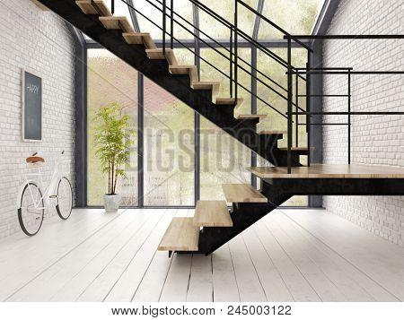Loft style interior design 3 D rendering