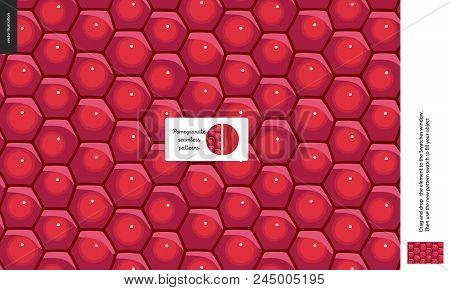 Food Patterns, Fruit, Pomegranate - Vector Seamless Pattern Of Pomegranate Pulp - Hexagonal Shining