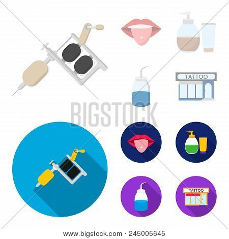 Piercing In Tongue, Gel, Sallon. Tattoo Set Collection Icons In Cartoon, Flat Style Vector Symbol St
