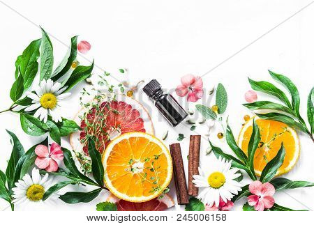 Essential Oil For Beauty Skin. Flat Lay Beauty Ingredients On A Light Background, Top View. Beauty H