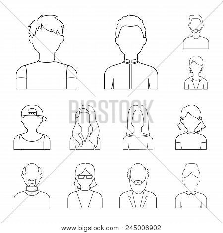 Avatar And Face Outline Icons In Set Collection For Design. A Person's Appearance Vector Symbol Stoc