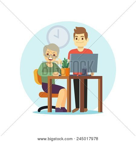 Young Man And Old Woman Computer. Grangma And Grandson And Modern Technologies. Vector Illustration