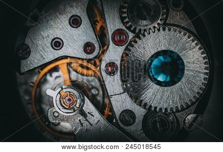 Clock Mechanism Macro View, Industrial Background. Steam Punk Style Watch Cog Wheels, Vintage Jewelr