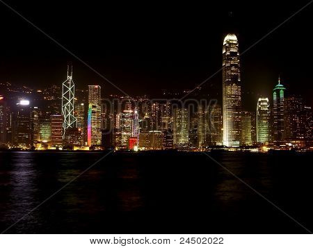 night panorama of Hong kong