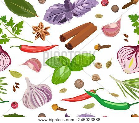 Vector Pattern With Picture Of Seasonings And Spices. Basil, Oregano, Onion, Pepper, Garlic, Bay Lea