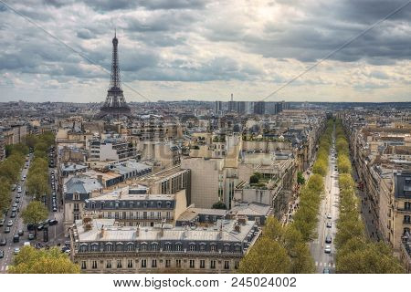 View From The Arc De Triomphe On The Eiffel Tower And Avenue Kleber. Paris. France