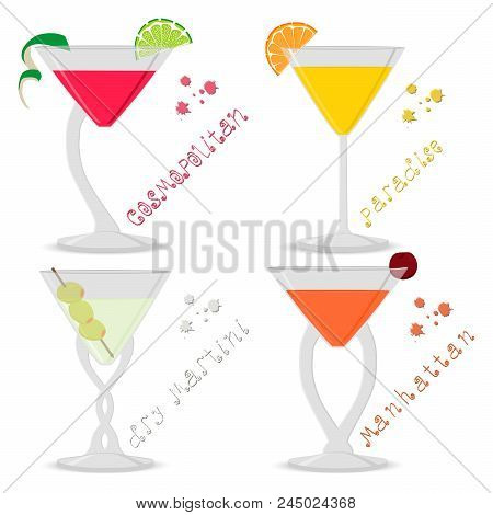 Vector Illustration For Set Alcohol Cocktails Manhattan, Cosmopolitan, Paradise, Martini. Full Glass