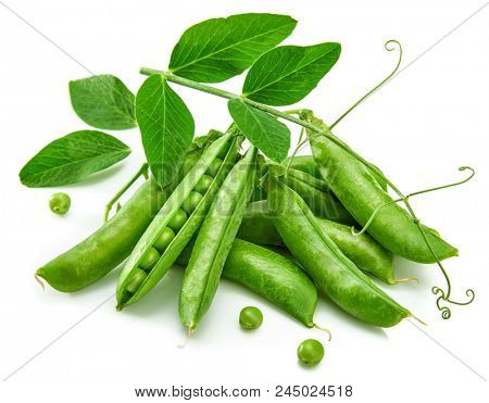 Green pea in pod with leaves still life with fresh vegetable healthy food, isolated on white background.