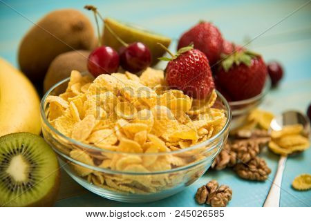 Healthy Breakfast-cornflakes And Fruits. Corn Flakes. Tasty Cornflakes With Fruits