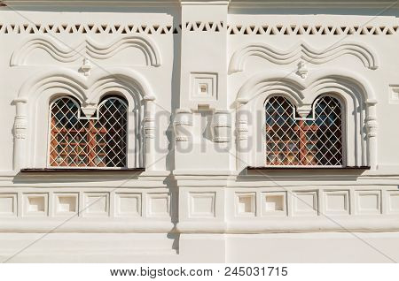 Windows With Medieval Sculpture Details In Varlaam Khutyn Monastery, Veliky Novgorod, Russia. Archit
