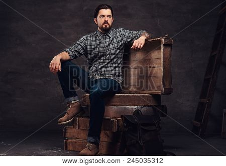Full Body Portrait Of A Tattoed Middle Age Hipster Man Dressed In A Checkered Shirt And Jeans, Sitti